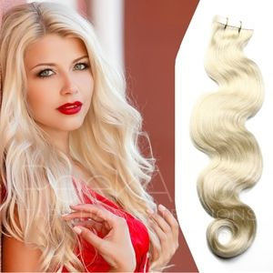 """100% REMY TapeIn Hair Extensions 20"""" Platinum Wavy"""